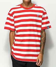 c97f8559374 Odd Future Red   White Stripe Knit T-Shirt Odd Future