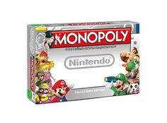 Collector's edition of Monopoly with featuring Nintendo's eight most popular video games (Mario, Donkey Kong, Zelda, Metroid, Kirby, Star Fox, Animal Crossing and Wario). Board game for 2-6 players in English by Winning Moves.