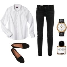 Minimal + Classic: white shirt, black jeans, loafers, watch