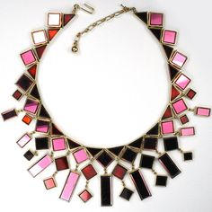 Trifari 'Alfred Philippe' 'Hall of Mirrors' Multiple Square and Oblong Pendant Red and Pink Mirror Glass Choker Necklace