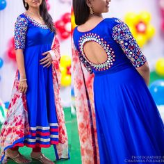 Enchanting Stitched Royal Blue Pure silk mirror work churidar/anarkali set with contrast colored tie and dye dupatta Blouse Designs Silk, Dress Neck Designs, Kurti Neck Designs, Kurta Designs Women, Kurti Designs Party Wear, Blouse Patterns, Mirror Work Dress, Mirror Work Blouse Design, Party Wear Indian Dresses