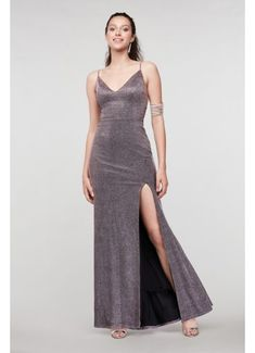 Scoop Back V-Neck Glitter Gown with Front Slit 11322