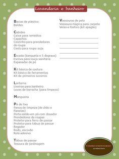 Lista de itens essenciais para lavanderia e banheiro
