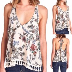 Floral tank top Super cute floral tank top! Perfect for spring and summer! Chiffon. Tank top runs true to size. Price firm unless bundled. April Spirit Tops Tank Tops