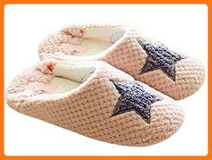 68a696439ce Maybest Women Spring Autumn Sweet Cozy Fleece Anti-skid House Slippers Pink  5 B (