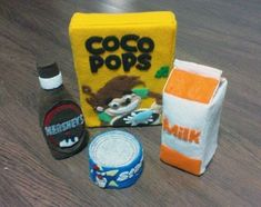 DIY Felt Grocery Set - Cereal, Milk, Can Tuna, Chocolate Syrup and Bag  (Patterns and Instructions via Email) | umecraft
