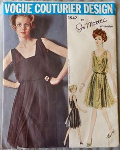 Rare Vintage Vogue Couturier 1547 Sewing Pattern Evening Dress UNCUT Jo Mattli   | eBay
