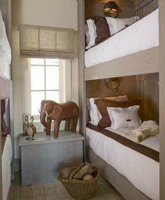neutral colors/rustic feel-lake home bedroom for multiple kids to sleep.