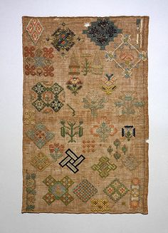 Sampler Date: first half 17th century Culture: British Medium: Silk and metal thread on linen canvas Dimensions: H. 16 1/4 x W. 10 3/8 inches (41.3 x 26.4 cm) Classification: Textiles-Embroidered