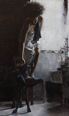 """Le Chat Noire"" - Pau Marinello {contemporary figurative artist female petting labrador retriever dog #naturalhair black woman standing on chair cropped painting} paumarinello.com"