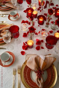 Tablecloth  Valentine's Day Table with Mikasa Parchment Rouge | Home is Where the Boat Is