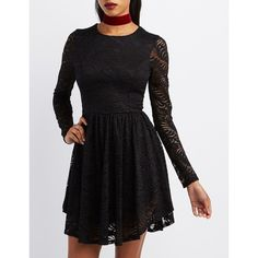 Charlotte Russe Floral Lace Skater Dress ($20) ❤ liked on Polyvore featuring dresses, black, floral fit-and-flare dresses, long sleeve a line dress, long sleeve flare dress, lace fit-and-flare dresses and charlotte russe dresses