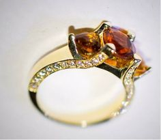 Custom diamond and citrine engagement ring 18k