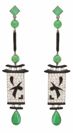 Art Deco Jade Pendant Earrings, ca. 1920