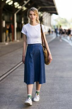 d1a72a385 17 Sassy Ideas to Wear Skirts and Sneakers RORESS closet ideas fashion  outfit style apparel Denim Skirt and Sneakers The post 17 Sassy Ideas to  Wear Skirts ...
