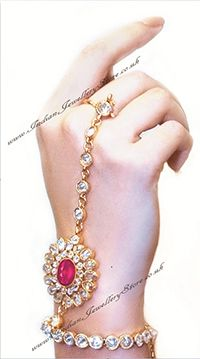 Rani Pink ANUSHKA Hath Panja #Jewelry, PAIR. American diamond, gold plated £45.00