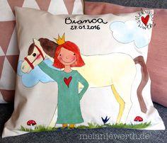 Prinzessin zur Geburt, Geschenk Geburt mit Namen, Individuelles Geschenk Geburt, Kissenbezug zur Geburt, Prinzessin und Pferd zur Geburt, Geschenk mit Prinzessin und Pferd