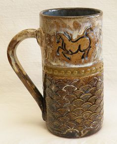Ceramic dancing horse hand made coffee mug 20oz by desertNOVA