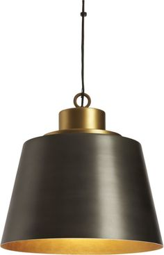 Kitchen (2) bell tones. Overscaled abstract bell rings a refined industrial note. Hand-brushed in a two-tone finish, aluminum shade contrasts raw antiqued exterior with warm glow of brass interior and cap. Suspends in dramatic fashion from black SVT cord.