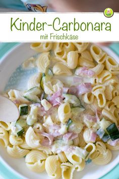 Kinder Carbonara mit Nudeln, leckeres Rezept für Baby und Kleinkind – MeineStube Children's carbonara with pasta, delicious recipe for baby and toddler – my room Baby Puree Recipes, Baby Food Recipes, Pasta Recipes, Homemade Baby Foods, Pumpkin Recipes, Kids Meals, Breakfast Recipes, Food Porn, Food And Drink