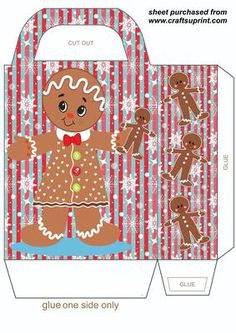 Christmas gingerbread gift bag 1 on Craftsuprint designed by Sharon Poore - Christmas gingerbread gift bag,you will need to print 2 sheets to make the gift bag - Now available for download!