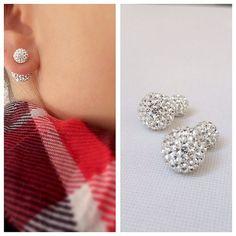 Double Earrings Double stud earrings Double crystal by Savijewelry