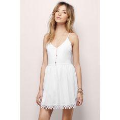 Tobi Daylight Skater Dress ($40) ❤ liked on Polyvore featuring dresses, white, white skater dress, skater dress, white v neck dress, tank dress and white tank dress