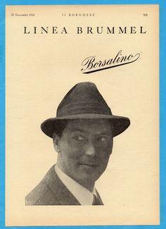 ILBOR962-PUBBLICITA'/ADVERTISING-1962- BORSALINO - CAPPELLI LINEA BRUMMEL