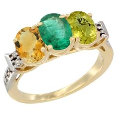 14K Yellow Gold Natural Citrine, Emerald & Lemon Quartz Ring 3-Stone 7x5 mm Oval Diamond Accent, sizes 5 - 10