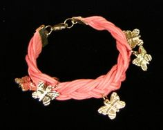 Pink Braided Cotton Bracelet With Butterfly Charms | SunCreations - Jewelry on ArtFire