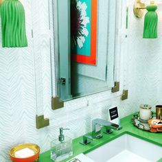 Aqua zebra wallpaper in the teen bathroom at the Christopher Kennedy Compound in Palm Springs by Trellis Home Design