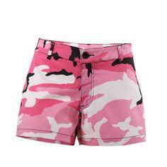 Women Summer Camo Pants Stylish Loose Shorts Beach High Waist Short Trousers US Camouflage Shorts, Pink Camouflage, Camo Shorts, Hot Shorts, Mini Shorts, Cotton Shorts, Cotton Spandex, Women's Camo, Hot Pink Pants