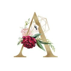 Floral Alphabet - letter A with flowers bouquet composition and delicate gold geometric shape crystal. Unique collection for wedding invites decoration and many other concept ideas.