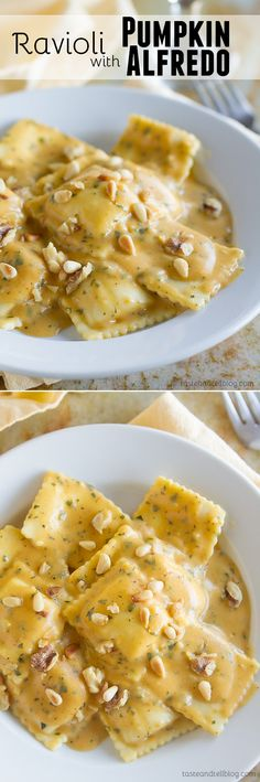 Ravioli with Pumpkin Alfredo Recipe - Pumpkin, sage and nutmeg add a warm richness to this Alfredo recipe that is served over ravioli for a comforting and easy fall or winter dinner.