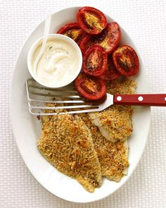 Here, Dijon mustard serves a dual purpose: It flavors the delicate fish, and helps the breadcrumb coating stay in place as the fish cooks. Tilapia can be used in place of the flounder.