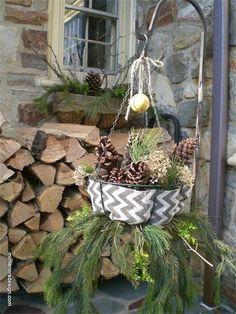 Chevron Burlap snuggles different pinecones...
