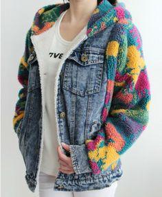 Contrast Color Lambswool Splicing Denim Coat - Clothing