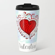 Watercolor zen style love heart Metal Travel Mug Love bears all things, believes all things, hopes all things, endure all things, LOVE NEVER ENDS Happy Valentine's day