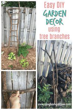 Easy DIY Garden Decor Using Tree Branches Tree Branch Crafts, Twig Crafts, Tree Branch Decor, Tree Branches, Driftwood Crafts, Diy Trellis, Garden Trellis, Trellis Gate, Vintage Garden Decor