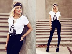 Eleven Paris Shirt, Vintage Bandana, American Apparel High Waisted Jeans
