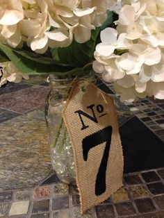 25 Burlap Wedding TABLE NUMBERS - Centerpieces - Custom Embroidered