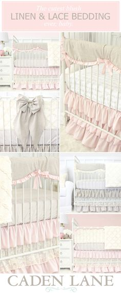 Our Linen & Lace Nursery Bedding Collection is absolutely stunning. Shop these looks and get the nursery look you've been dreaming of! Grey Crib, Nursery Grey, Girl Cribs, Baby Bedroom, Baby Girl Nursery Bedding, Nursery Inspiration, Nursery Ideas, Nursery Decor, New Baby Girls