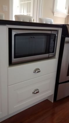Microwave Custom Integrated In IKEA Base Cabinets With Storage Drawers  Underneath