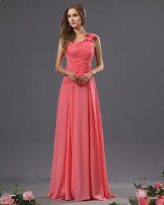 Bowtie Chiffon One Shoulder Floor Length Bridesmaid Dress - Wedding inspirations