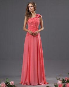Bowtie Chiffon One Shoulder Floor Length Bridesmaid Dress - Wedding look