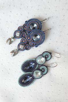 Blue Earrings, Crystal Earrings, Blue And Copper, Soutache Jewelry, Handmade Items, Handmade Gifts, Spring Trends, Craft Items, Beauty Routines