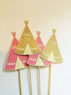 Boho tribal party cupcake toppers arrows feathers blush gold glitter girls party baby birthday party baby shower tribal decor modern