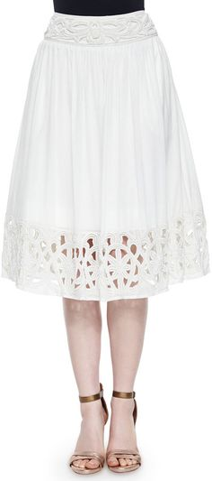 Alice + Olivia Joanna Embellished Midi Skirt, White  Price : 485.00$