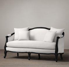 Ondine Salon Bench, black oak & white (2) (formal living room) (RH)