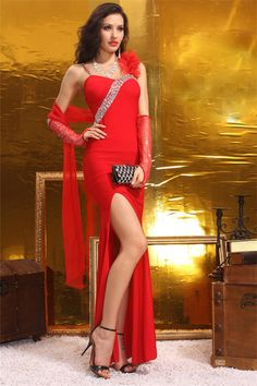 Sheath High Slit Floral Strap Long Red Jersey Beaded Prom Dress